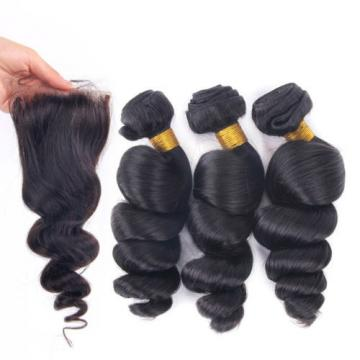 7AGrade Free Part 4x4 Top Closure with 3Bundles Virgin Hair Peruvian Loose Wave