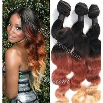 7A Peruvian Body Wave Virgin Hair 3 Bundles 14+14+16+Ombre Human Hair Extensions