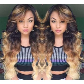 "Wow Finest Peruvian Ombré Virgin Hair 1B/4/27 Wavy 24"" 24"" 26"" + 24"" Closure 4x4"