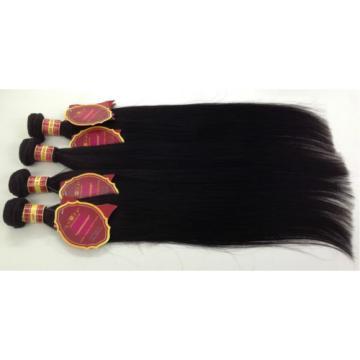 """20"""" Peruvian Virgin AAAAA Grade Human Hair Extensions Weft / Weave 100g #1b"""