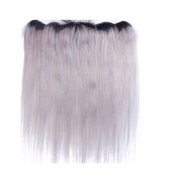 Luxury Silky Straight Peruvian Dark Roots Grey Lace Frontal 13x4 Virgin Hair 7A