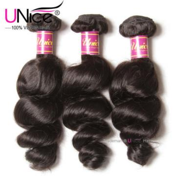 UNice Hair Peruvian Loose Wave Virgin Hair 3 Bundles 100% Human Hair Extensions