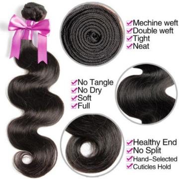 "3 Bundles REMY Virgin Human Hair FREE 13""x4"" Closure Brazilian Peruvian 7A 300g"