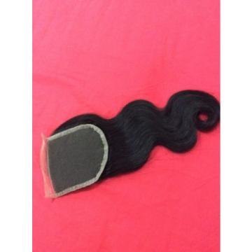 "16"" Peruvian virgin Lace closure (4*4) 3 way parting human hair BODYWAVES,1b, 6A"