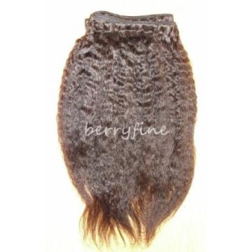 22-inch Virgin Peruvian Kinky Straight Human Hair Weft Extensions - Natural