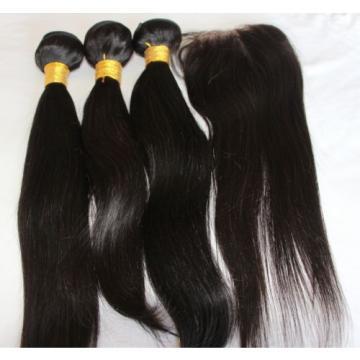 14/16/18 &10 Unprocessed Peruvian Virgin Hair Weft Lace Closure & Hair Extension