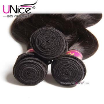 US Peruvian Body Wave Human Hair 4 Bundles UNice 8A Virgin Hair Extensions 400g