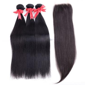 3 Bundles Straight Hair Weft with Lace Closure Virgin Peruvian Human Hair Weave
