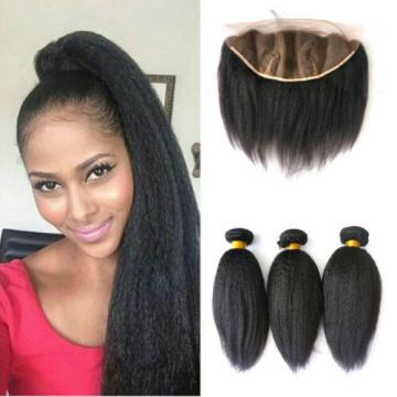 3Bundles Peruvian Virgin Hair with 13X4 Closure Piece Ear to Ear Italian Yaki