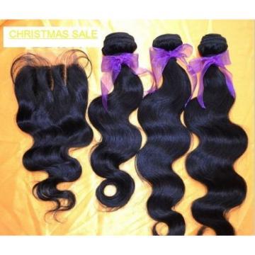 BRAZILIAN VIRGIN Human Hair 9A Weave 3Bundle+CLOSURE BLECHKNOT SAME DAY DISPATCH