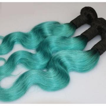 Luxury Body Wave Peruvian Teal Green Ombre Virgin Human Hair Extensions 7A