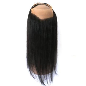 360 Lace Band Frontal with 3Bundles Peruvian Virgin Human Hair Straight 22x5inch