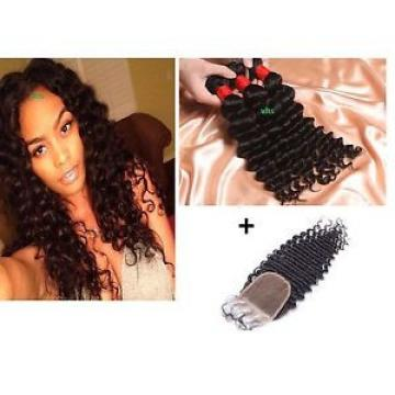 100% virgin Brazilian/Peruvian/Malaysian deep wave/curl human hair 300g+closure