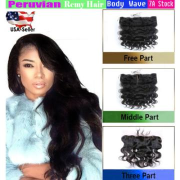 "Lace Frontal Closures 13""x4 PERUVIAN Body Wave Virgin Human Remy with Baby Hair"