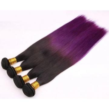 Luxury Silky Straight Peruvian Purple Ombre Virgin Human Hair Weft Extensions