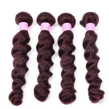 Luxury Peruvian Loose Wave Burgundy Red #99J Virgin Human Hair Extensions