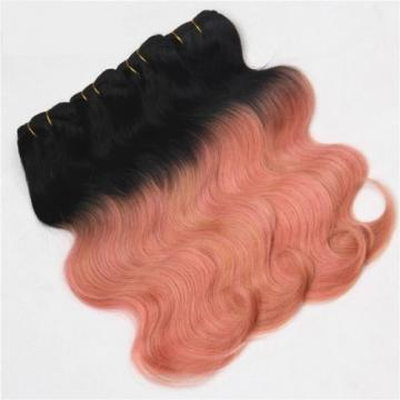 Luxury Peruvian Pink Rose Gold Ombre Body Wave Virgin Human Hair Extensions