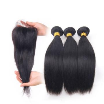 7A Peruvian Virgin Hair Free Part 4x4 Lace Closure with 3 Bundles Straight Hair