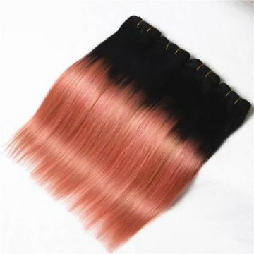 Luxury Peruvian Pink Rose Gold Ombre Straight Virgin Human Hair Extensions