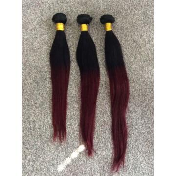 """300g. 14"""",16"""" & 18"""" Peruvian Virgin Ombre 1b/99j Human Hair STRAIGHT,grade 6A"""