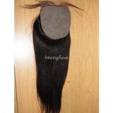 16-inch Virgin Peruvian Kinky Straight Human Hair Silk Top Frontal Closure