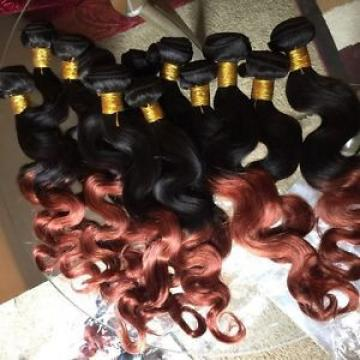 "300g.14"",16"" & 18"" Peruvian Virgin Ombre 1b/33 Human Hair BODYWAVES, grade 6A"
