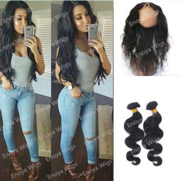 100% Peruvian Virgin Human Hair 360 Lace Frontal Closure Body Wave with 2Bundles