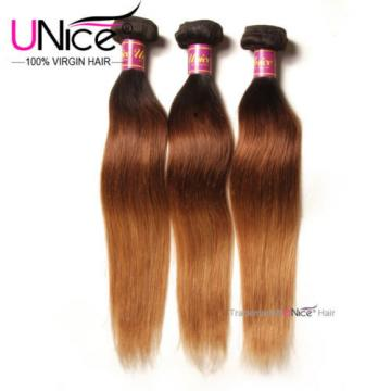 Peruvian Virgin Hair Straight 3 Bundles T1b/4/27 Ombre Straight Hair Extensions
