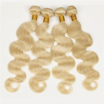 Luxury Body Wave Peruvian Bleach Blonde Virgin #613 Human Hair Extensions Weave