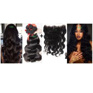 100% 8A unprocessed Virgin Brazilian Peruvian Malaysian human hair 300g +Frontal
