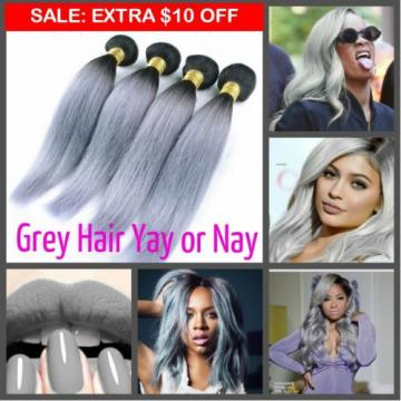 "12""-26"" Thick Virgin Remy Brazilian Black Grey Human Hair Weave Bundle 300 Lot"