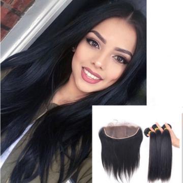 Silk Base Closures Lace Frontal+ Peruvian Human Hair Weave Virgin Hair 3 Bundles