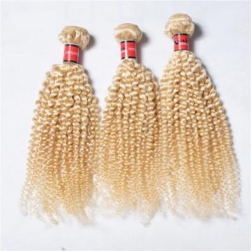Luxury Kinky Curly Peruvian Bleach Blonde #613 Virgin Human Hair Extensions