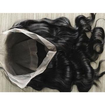 360 Free Part Lace Frontal 100%  Peruvian Virgin remy Human Hair 8A black