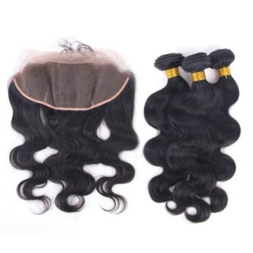 Peruvian Lace Frontal 13x4 Ear to Ear with 3Bundles Body Wave Human Virgin Hair