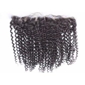 Luxury Peruvian Kinky Curly Lace Frontal Closure 13x4 Virgin Human Hair 7A