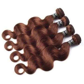 Luxury Body Wave Medium Chocolate Brown #4 Peruvian Virgin Human Hair Extensions