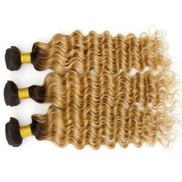 Luxury Dark Roots Peruvian Honey Blonde Deep Wave Virgin Human Hair Extensions
