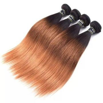 Luxury Straight Peruvian Auburn #1B/4/30 Ombre Virgin Human Hair Extensions