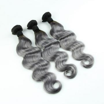 Luxury Dark Roots Grey Body Wave Peruvian Virgin Human Hair Extensions 7A