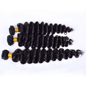 8A3pcs/300g Peruvian Virgin Real Deep Wave Hair 100% Human Hair Extensions Weave