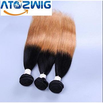 ATOZWIG@7a Peruvian Virgin Hair Straight 3 Bundles Black And Ombre Straight Shor