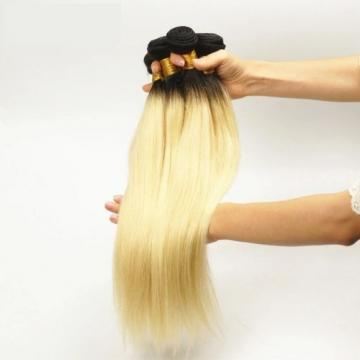 Luxury Dark Roots Peruvian Bleach Blonde #613 Straight Virgin Hair Extensions