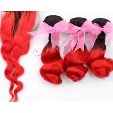 Luxury Loose Wave Peruvian Hot Red Dark Roots Ombre Virgin Human Hair + Closure
