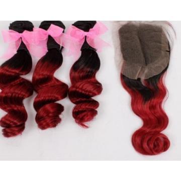 Luxury Loose Wave Peruvian Burgundy #99J Dark Roots Ombre Virgin Hair + Closure