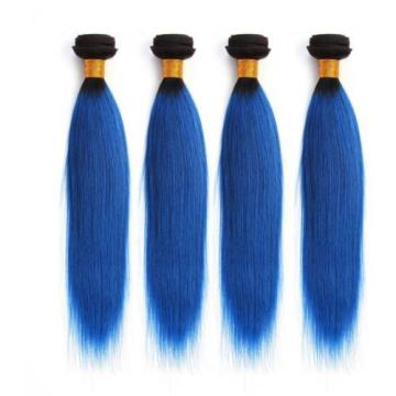 Luxury Dark Roots Blue Straight Peruvian Ombre Virgin Human Hair Extensions