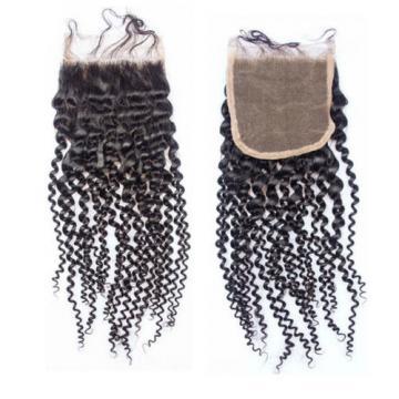 3Bundle+Closure PERUVIAN virgin KINKY CURL Human hair Extensions (350g)FAST SHIP