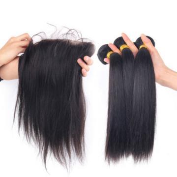 7A Straight Peruvian Virgin Hair 3Bundles with 13x4 Ear to Ear Lace Closure