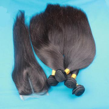 Unprocessed 100% Virgin Peruvian Straight Hair with Closure Human Hair Extension
