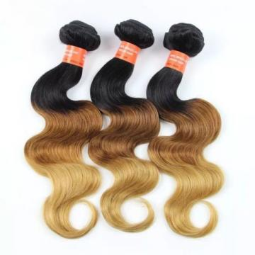 Luxury Peruvian Blonde #1B/4/27 Ombre Body Wave Virgin Human Hair Extensions